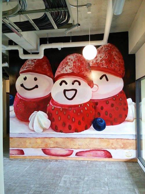 KYOCA FOOD LABORATORYのいちごの壁画